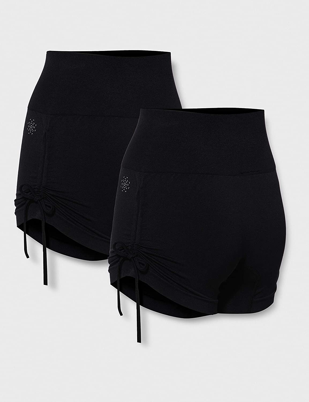 Marca Amazon - AURIQUE Shorts de Yoga Mujer, Pack de 2