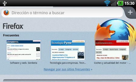 Firefox 14 para Android, nueva página de inicio
