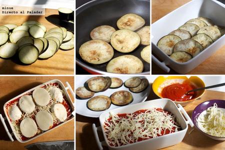 Asado de berenjena y mozzarella - elaboración