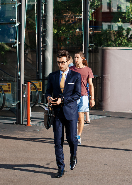 Navy Suit Street Style