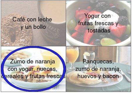 Solución a la adivinanza: el desayuno más completo es zumo de naranja con yogur, nueces, cereales y frutas