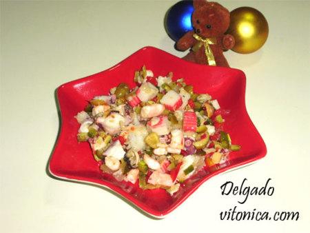 Salpicón de marisco con vegetales. Receta saludable.