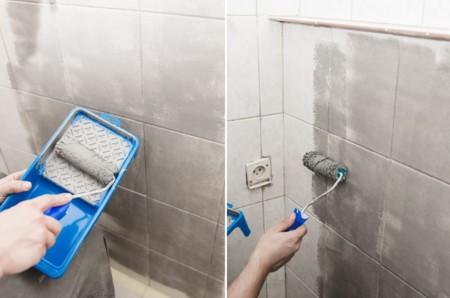 Antes y despu s de aut ntico desastre a ba o de tendencia - Pintura para azulejos bano ...