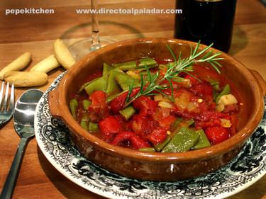 Receta de judías verdes con pimientos asados