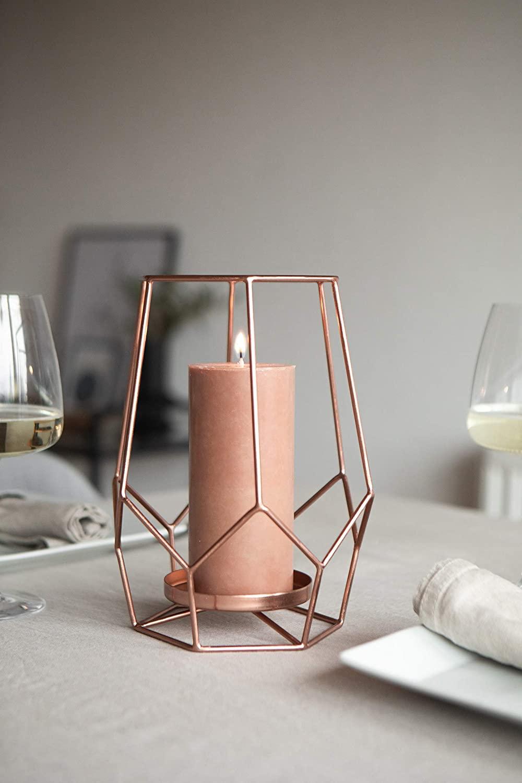 LaLe Living Portavelas Sibel en cobre, diámetro de 14 cm, altura de 24 cm, para velas pilares y portavelas