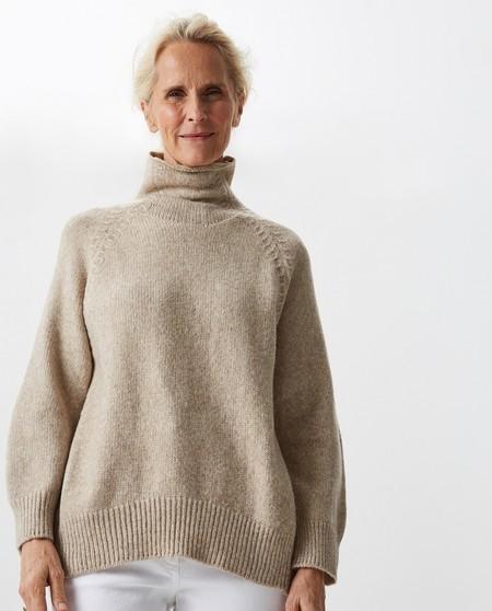 Jersey de mujer con cuello alto de tacto soft