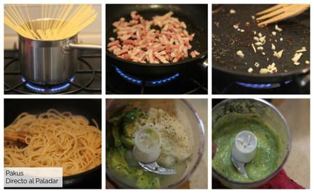 Espaguetis Carbonara De Aguacate Pasos