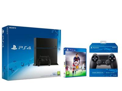 En Amazon tienes la PS4 con Fifa 16 y un mando extra por 340 euros
