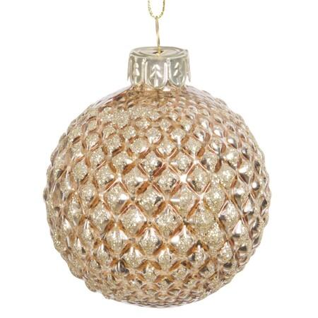 Bola De Navidad De Cristal Tintado Dorado Con Relieves