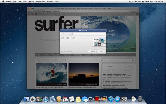 Integración de Facebook con OS X Mountain Lion