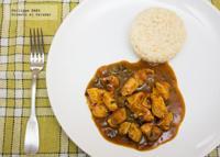 Pollo al curry con chile y cebolla. Receta