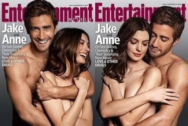 Jake Gyllenhaal y Anne Hathaway, desnudos y agarraicos para EW