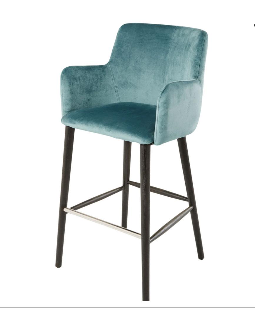 Silla de bar profesional vintage de terciopelo azul Alt. 110 - Doris Prp