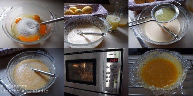 fases lemon curd en microondas