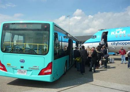 Autobuses de BYD se encargarán de la transferencia de pasajeros en el aeropuerto de Amsterdam