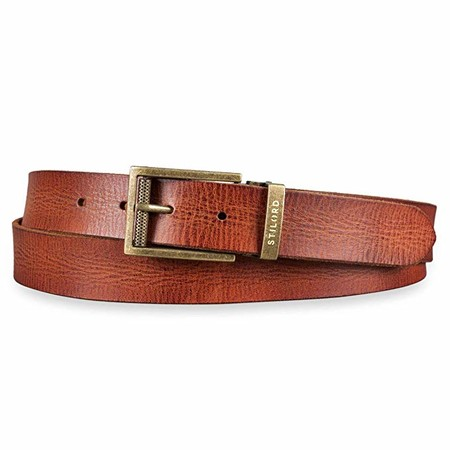 STILORD Cinturón de Piel Marrón para Hombre Mujer Vintage Universal Acortable Para Vaqueros Business Casual Con Caja de Regalo Shabby Cuero 34 mm