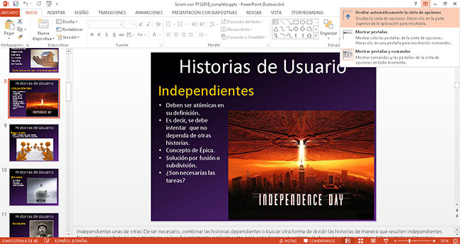 PowerPoint 2013, integración con Ribbon