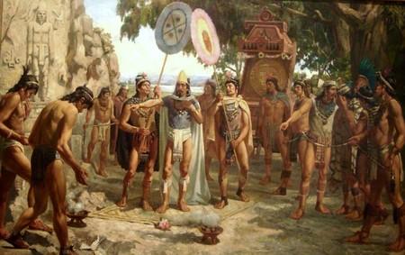 Moctezuma II visitando las tunbas de sus antepasados