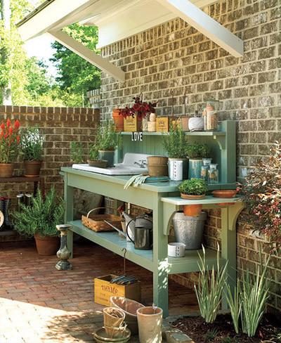 Banco de madera con fregadero para jardín