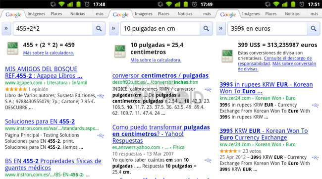Google Search: Calculadora y conversores