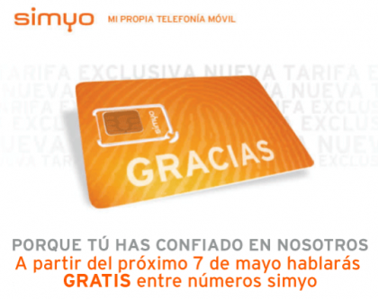 Simyo anuncia llamadas gratuitas a partir del 7 de mayo