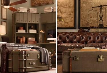 Viejos baúles de viaje convertidos en muebles diversos