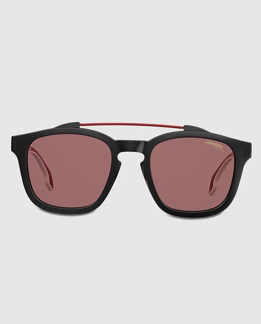Gafas de sol con montura negra y doble puente metálico rojo