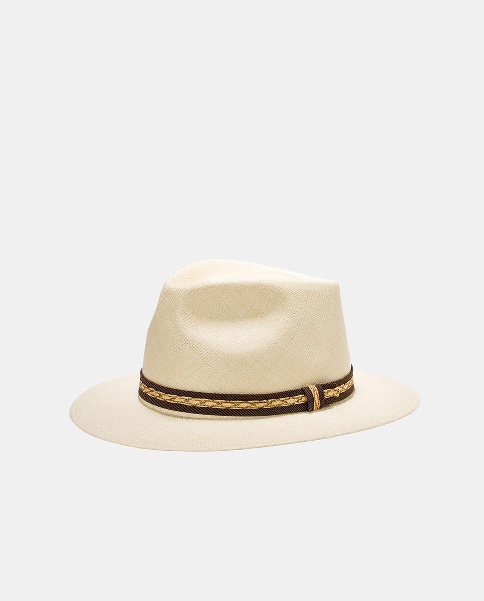 Sombrero de hombre en paja natural con cinta