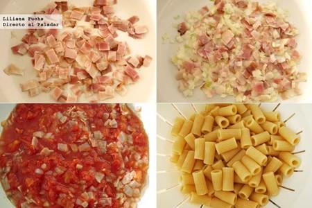 Receta de rigatoni con salsa amatriciana. Pasos