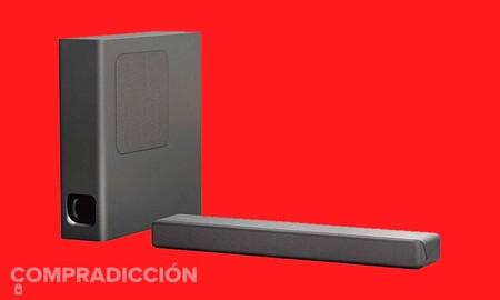 En la Semana Web de MediaMarkt mejorar el audio de tu smart TV con un barra de sonido como la Sony HT-MT300 sale más barato: llévatela por 169 euros