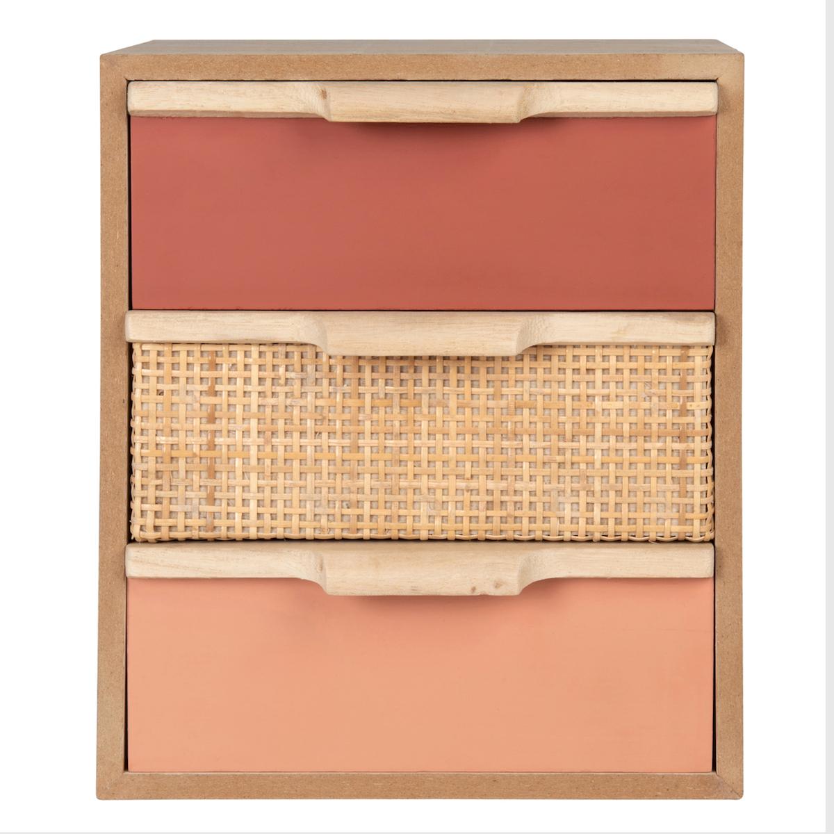 Mueble de almacenaje con 3 cajones color rosa