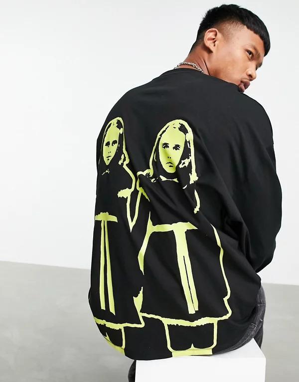 Camiseta negra extragrande de manga larga con estampado de El resplandor para Halloween de ASOS DESIGN