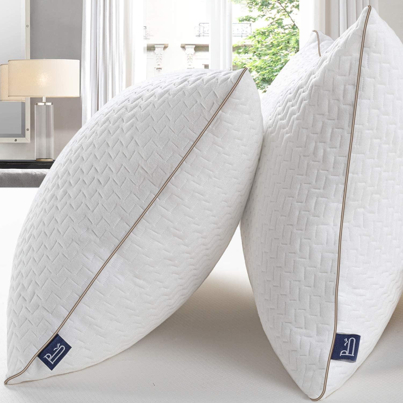 BedStory Almohada 50x75 Almohada Pack 2 con Funda de Lavable Almohada Antiácaros con 80% de 3D Fibra + 20% de 7D Fibra de poliéster Relleno de Almohadas de Calidad Hotelera