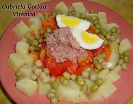 Ensalada completa de patatas y atún. Receta saludable