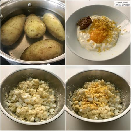 paso a paso ensaladilla de patata con huevo, limón y mostaza