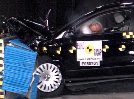Prueba de choque frontal EuroNCAP del VW Passat en 2005