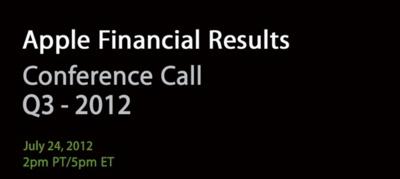 Apple revelará los resultados de su tercer trimestre fiscal del 2012 el próximo 24 de julio