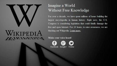 """Wikipedia y Reddit se """"apagan"""" hoy para protestar por la Ley SOPA"""