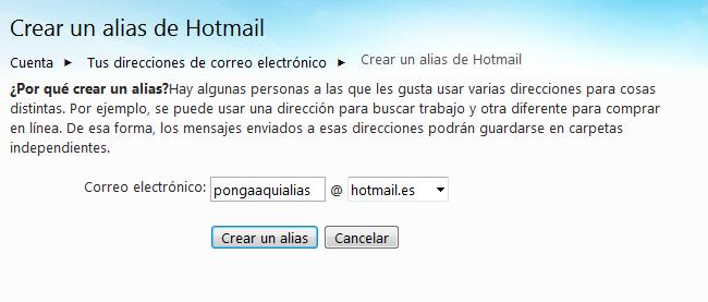 La pantalla de creación de Alias en Hotmail