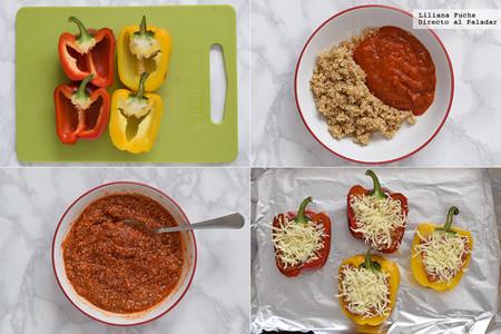 Pimientos asados rellenos de salsa de tomate y quinoa. Pasos