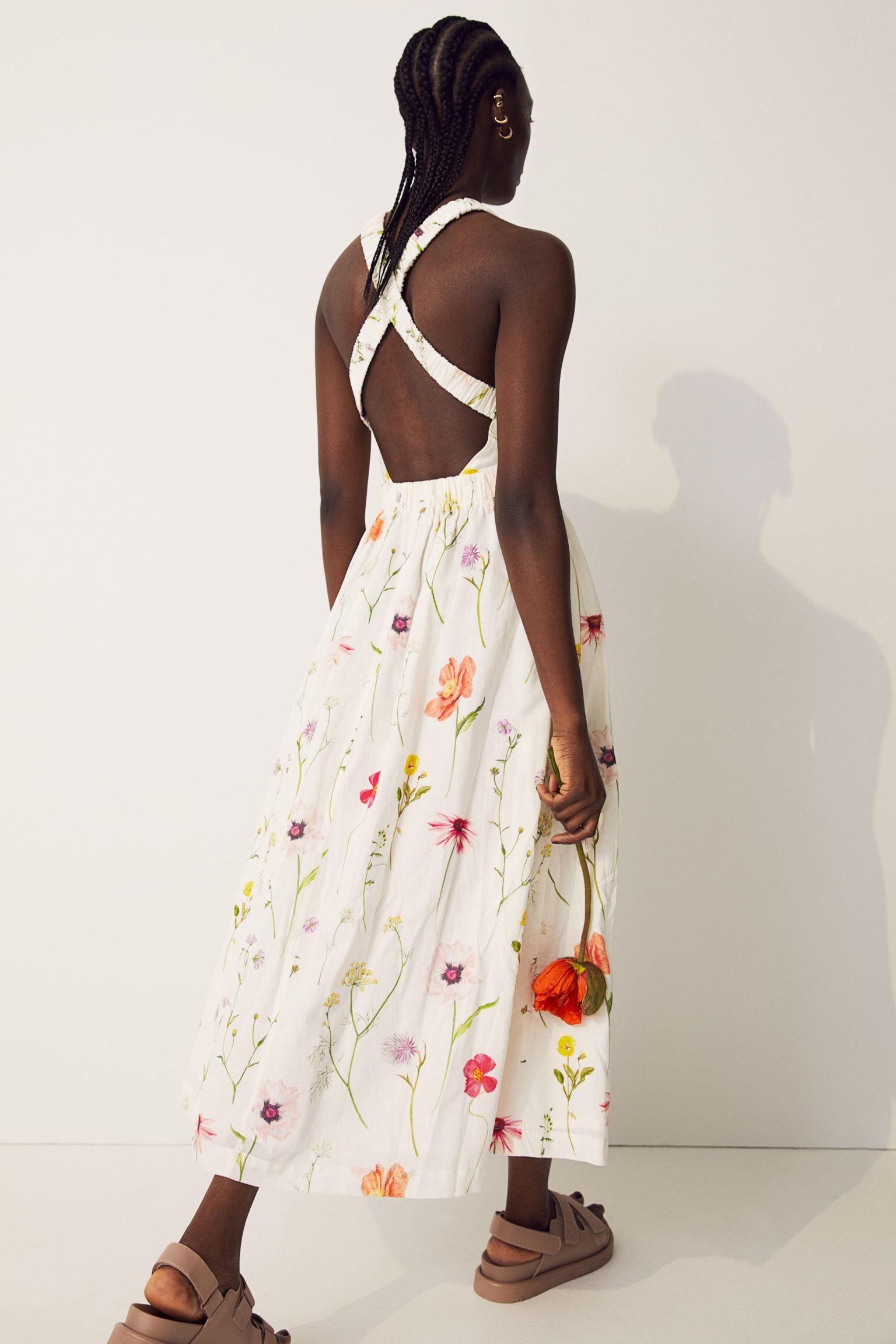 Vestido tobillero con lino y de flores
