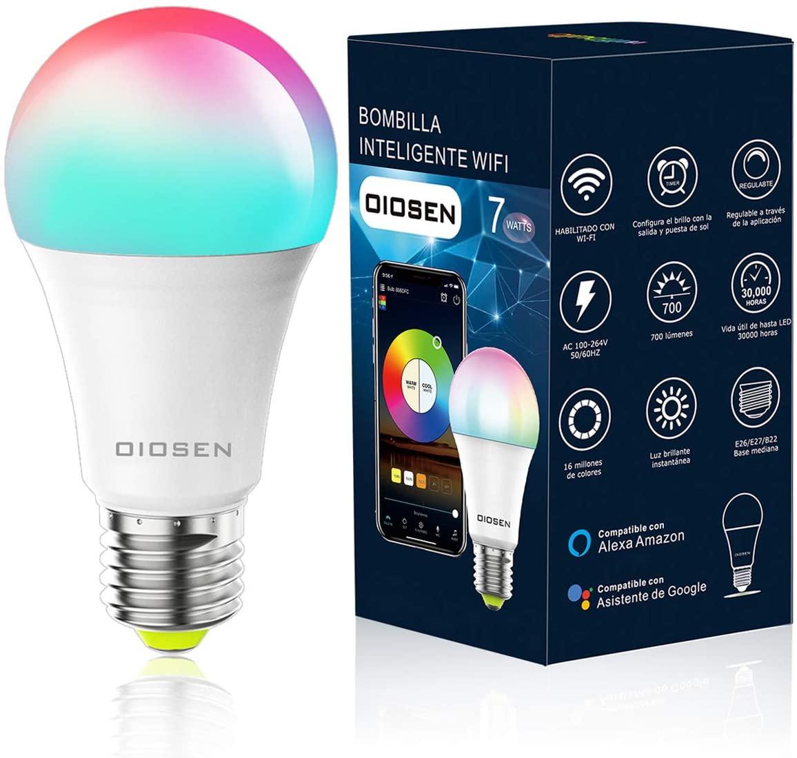 Foco Inteligente OIOSEN, RGB, Wi-Fi compatible con Alexa, Google Home y Siri
