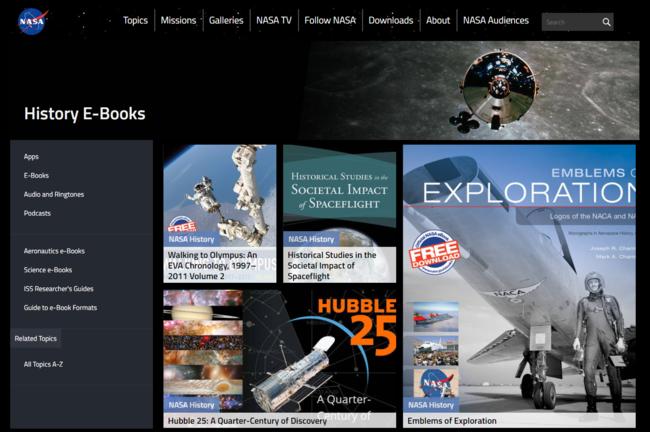 Descarga los ebooks gratuitos de la NASA sobre historia, ciencia, aeronáutica e investigación