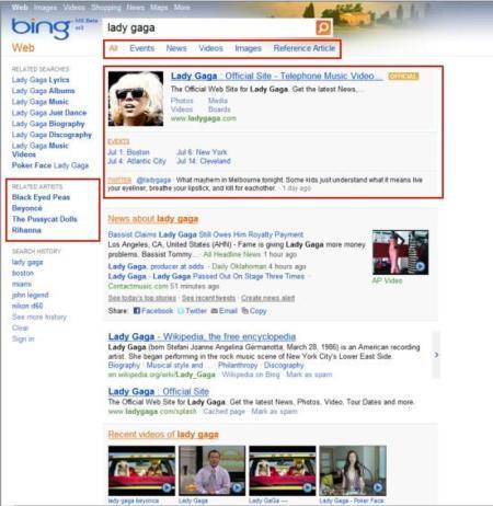 Lady Gaga en Bing