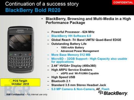 BlackBerry Bold R020, se filtra el documento interno del nuevo Bold