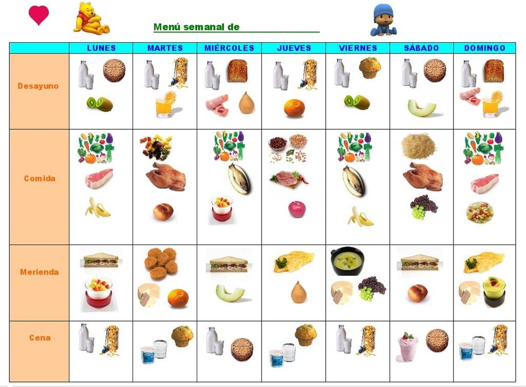 Men semanal infantil para imprimir los alimentos en dibujos for Menu para comida familiar