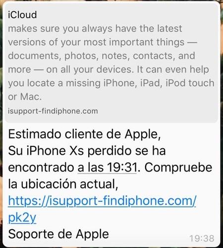 Mensaje Iphone Robado