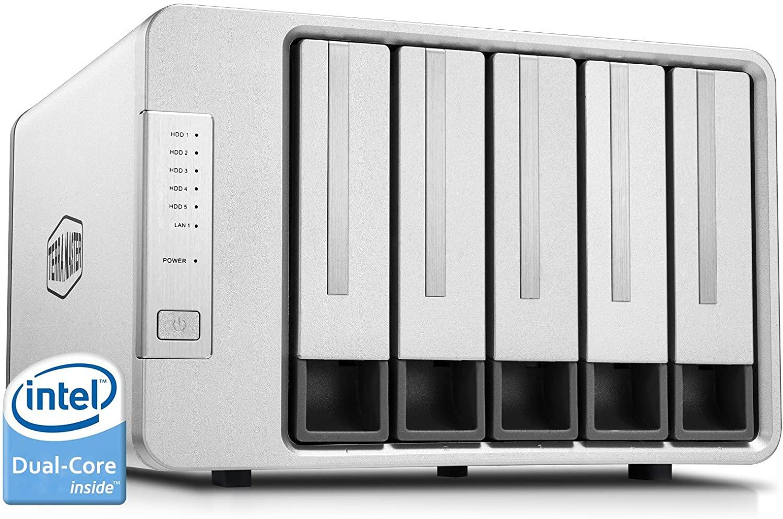 TerraMaster F5-221 Caja de Servidor NAS 5 bahías Intel Dual Core 2.0GHz 2GB RAM Plex Media Server Almacenamiento en Red (Sin Discos)