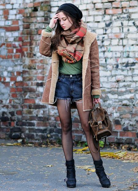 Moda en la calle: los shorts no se ocultan en invierno