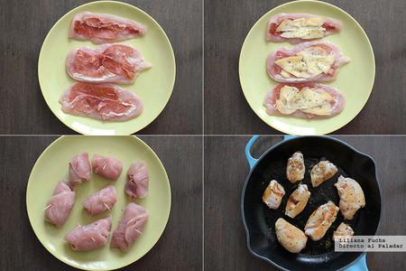Rollitos de pollo rellenos de jamón ibérico y queso San Simón. Pasos